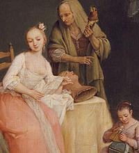 Pietro Longhi: particolare con donna patrizia